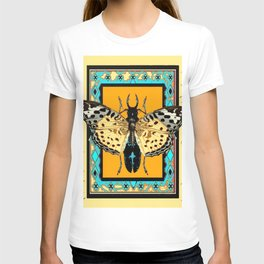 BUTTERFLY WESTERN YELLOW-ORANGE-TURQUOISE INSECT  PATTERNS T-shirt