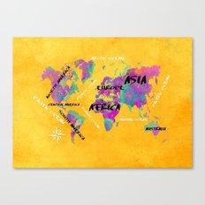 world map 119 yellow #map #worldmap Canvas Print