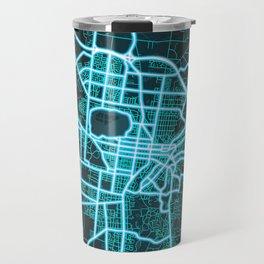 Ballarat, VIC, Australia, Blue, White, Neon, Glow, City, Map Travel Mug