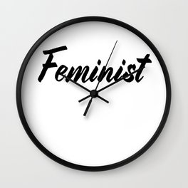Feminist (on white) Wall Clock