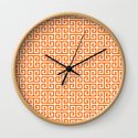 Orange and White Greek Key Pattern by annaleeblysse