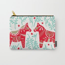 Swedish Dala Horses – Red & Mint Palette Carry-All Pouch