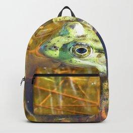 Watercolor Frog, Northern Green Frog 01, Kejimkujik, Nova Scotia, Canada, Hanging in the Shallows Backpack