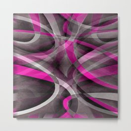 Eighties Style Fucshia Pink and Grey Curves Pattern Metal Print