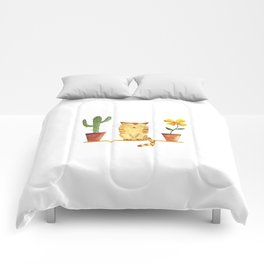 cat and cactus Comforters