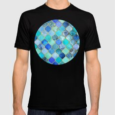 Cobalt Blue, Aqua & Gold Decorative Moroccan Tile Pattern LARGE Mens Fitted Tee Black