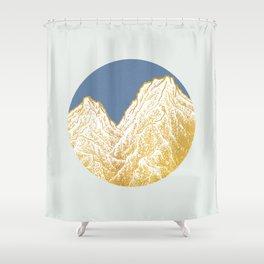 """遠望 series -""""Valley"""" in Circle - Linocut Shower Curtain"""