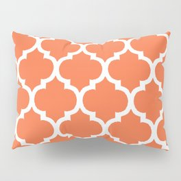 Morocco Orange Coral and White Lattice Grid Pattern Pillow Sham