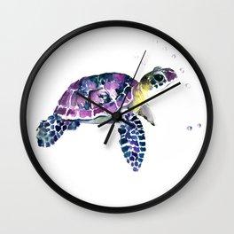 Sea Turtle, purple baby turtle illustration design Wall Clock