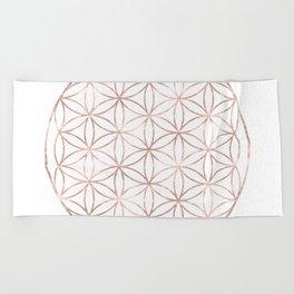 Mandala Rose Gold Flower of Life Beach Towel