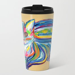 Hypnotic Rainbow Cat on neutral background Travel Mug