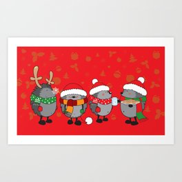 Christmas hedgehogs Art Print