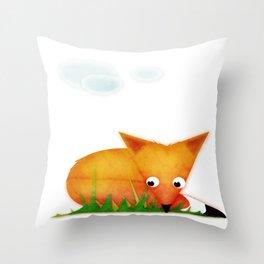 Sleepy Little Fox Throw Pillow