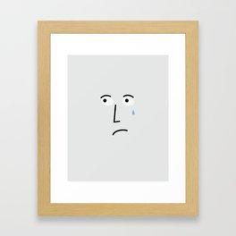 So Sad Crying Face in Gray Framed Art Print