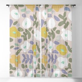 Winter flower meadow Sheer Curtain
