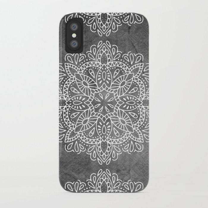 Mandala Vintage White on Ocean Fog Gray iPhone Case by naturemagick ...
