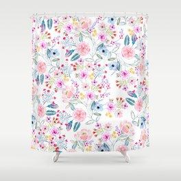 Vintage floral Watercolor hand paint design Shower Curtain