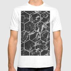 Black Campari marble - hexagons MEDIUM Mens Fitted Tee White
