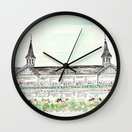 Churchill Downs Louisville KY Watercolor Wall Clock