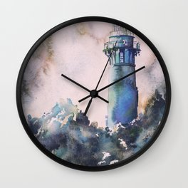 Watercolor painting of Currituck Lighthouse in the Outer Banks, NC, lighthouse painting Wall Clock