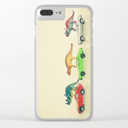Dinosaurs Ride Cars Clear iPhone Case