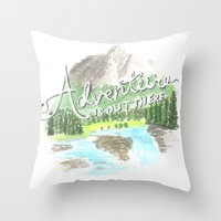 "pixar Throw Pillows featuring ""Adventure is Out There!"" - Up, Pixar by astoldbycaro"