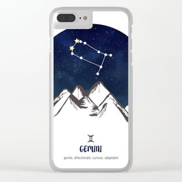 Astrology Gemini Zodiac Horoscope Constellation Star Sign Watercolor Poster Wall Art Clear iPhone Case