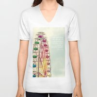 ferris wheel V-neck T-shirts featuring Ferris wheel by Ana Guisado