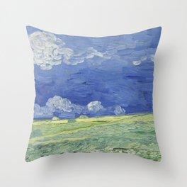 Wheatfield under Thunderclouds Throw Pillow