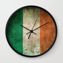 Old and Worn Distressed Vintage Flag of Ireland Wall Clock