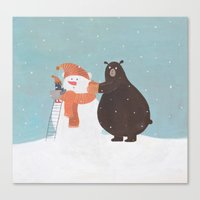 snowman Canvas Prints featuring Snowman by Nadia Kovaliova
