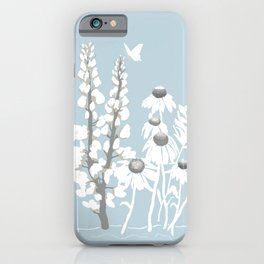Wildflowers In White on Blue/Grey Background iPhone Case