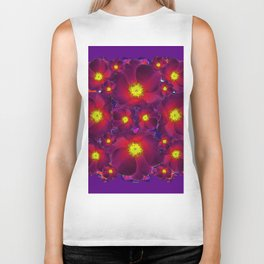 Purple Dark Burgundy Color Flower Pattern Biker Tank