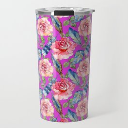 Pink navy blue teal purple watercolor elegant roses feathers Travel Mug