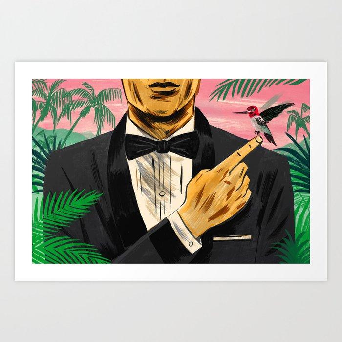 """Chasing James Bond's Hummingbird"" by Mike Reddy for Nautilus Art Print"