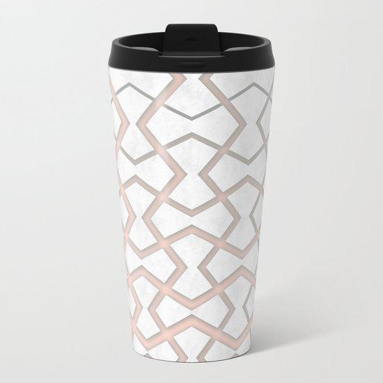 Pink Under Marble Tiles Metal Travel Mug