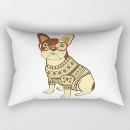 Bulldog in sweater and glasses Rectangular Pillow