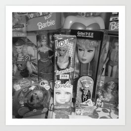 #BarbieLou with tomodachi b/w Art Print