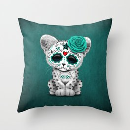 Blue Day of the Dead Sugar Skull Snow Leopard Cub Throw Pillow
