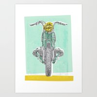 bmw Art Prints featuring Vintage BMW Motorcycle by Matylda Mcilvenny
