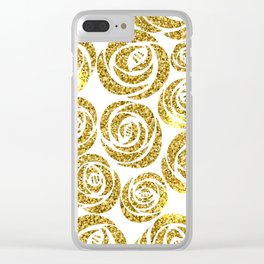 White & Gold Rose Pattern Clear iPhone Case