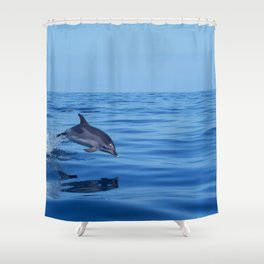 Spotted dolphin jumping in the Atlantic ocean Shower Curtain