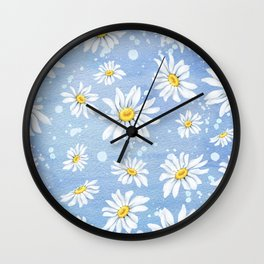 Spring Daisies On Sky Blue Watercolour Wall Clock