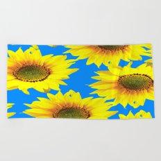 Sunny Sunflowers with blue sky - summer mood - #Society6 #buyart Beach Towel