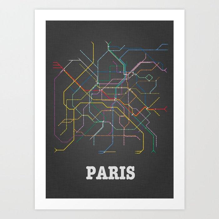 Paris Metro Subway Poster Art Print by juliendenoyer | Society6