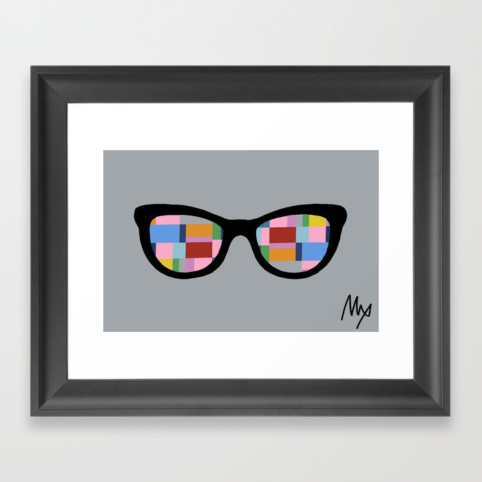 Square Eyes on Grey Framed Art Print