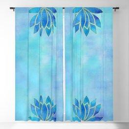 Blue Watercolor Lotus Flower Art Blackout Curtain