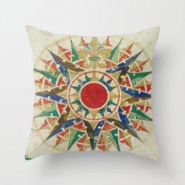 Vintage Compass Rose Diagram (1502) Throw Pillow