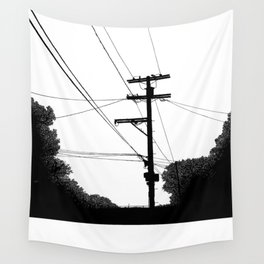Power Lines at the bluff Wall Tapestry