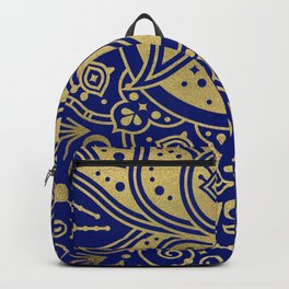 Sacred Lotus Mandala – Navy & Gold Palette Backpack